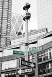 Roadsigns at the corner of Broadway and Columbus circle. NEW YORK, USA - May 01, 2016: Street signs for Broadway and Columbus Circle, Manhattan, NYC stock photography