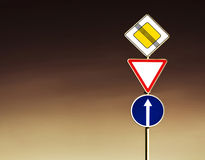 Roadsigns. Group road- sign at night royalty free stock photography