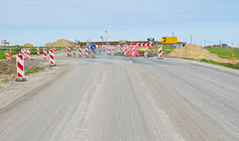 Roadsigns on road. Under construction royalty free stock image