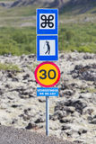 Roadsigns in the west of Iceland. Different Icelandic roadsigns in the west of Iceland stock photos