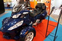 Roadster BRP Can-am Spyder RT-S. KUALA LUMPUR - FEB 23: Roadster BRP Can-am Spyder RT-S on display at the MotoXpo Show & Conference Kuala Lumpur 2012 (MotoXpo) Stock Photos