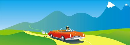 Roadster  car crossing country. Stock Images