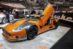 Roadster di Spyker C8 - salone dell'automobile 2010 di Ginevra Fotografie Stock Libere da Diritti