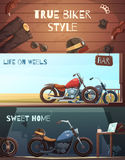 Roadster Motorcycle Banners Set Stock Photo