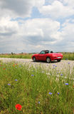 Roadster on the way, with overspeed Royalty Free Stock Photography