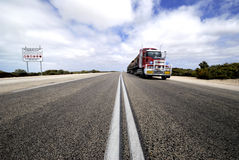 Roadtrain in Nullarbor desert Royalty Free Stock Photography
