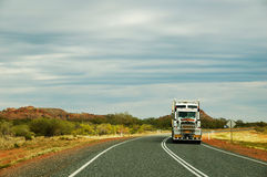 Roadtrain in the Outback. A picture of the front of a roadtrain driving over the Stuart Highway, just north of Alice Springs Stock Image
