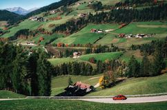 Roadtrip by car on mountain road in Dolomites, Italy Royalty Free Stock Photo