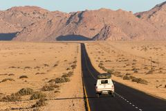 Roadtrip through namibian desert stock photo