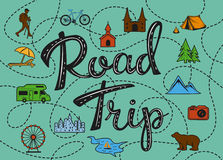 Roadtrip poster with a stylized map with points of interest and sighseeing for travelers Stock Image