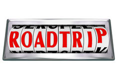 Roadtrip słowa drogomierza mil Odliczająca wycieczka samochodowa Obraz Stock