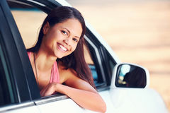 Roadtrip woman happy Royalty Free Stock Images