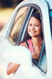 Roadtrip woman happy Stock Photo