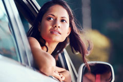 Roadtrip woman happy Stock Image