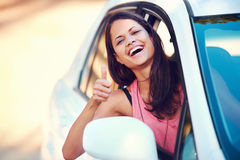 Roadtrip woman happy Stock Photos