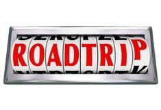 Roadtripword Odometer die Miles Road Trip tellen Stock Afbeelding