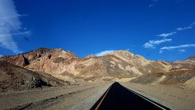 Roadway through Artists Pallete, Death Valley National Park, California stock image