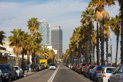 Roadway of Barceloneta Beach Stock Photography
