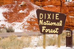 Roadway Dixie Nationa Forest Sign Utah USA Stock Image