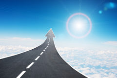 Roadway going up as an arrow, air Royalty Free Stock Photography