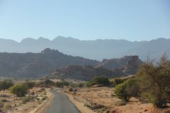 Roadway. A roadway leading into the Atlas Mountains near the city of Tafraoute, Morocco Royalty Free Stock Image