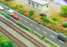 Roadway near railroad. stock images