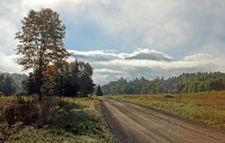 Roadway in rural Jefferson, New Hampshire Royalty Free Stock Photo