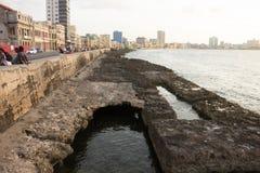 Roadway and seawall  Malecon. Havana, Cuba, July 2016. Roadway and seawall  Malecon Royalty Free Stock Image