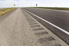 Roadway shoulder rumble strips Stock Photos