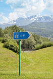 The roadway sign in mountains Stock Photos