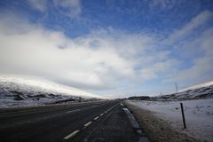 Roadway with snow stock photography