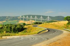 Roadway to the Millau viaduct, southern France royalty free stock images