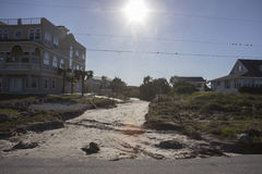Roadway washed out. During Hurricane Matthew October 7 2016 Stock Images