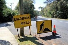 Roadwork ahead sign board in Australia stock image