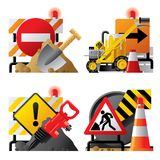 Roadwork icons. Raster version of vector set of roadwork icons with signboards and tools Royalty Free Stock Images