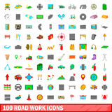 100 roadwork icons set, cartoon style. 100 roadwork icons set in cartoon style for any design vector illustration Stock Photos