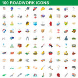100 roadwork icons set, cartoon style. 100 roadwork icons set in cartoon style for any design vector illustration Stock Photo