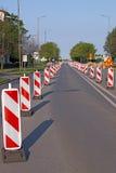 Roadwork signs on street Stock Photo