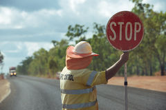 Roadwork stop stock images