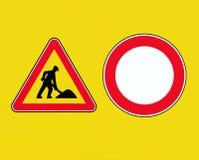 roadworks Знаки запрета работы в процессе и перехода на желтой предпосылке бесплатная иллюстрация