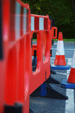 Roadworks. Cones and barriers Stock Photography
