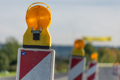 Roadworks. Beacons to assure the safety of roadworks Royalty Free Stock Photography