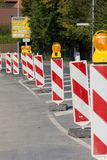 Roadworks. Beacons to assure the safety of roadworks Stock Photos