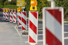 Roadworks. Beacons to assure the safety of roadworks Royalty Free Stock Photo