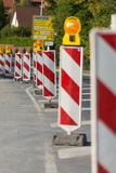 Roadworks. Beacons to assure the safety of roadworks Royalty Free Stock Photos