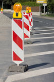 Roadworks. Beacons to assure the safety of roadworks Stock Image