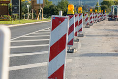 Roadworks. Beacons to assure the safety of roadworks Stock Images