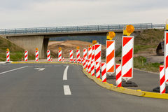 Roadworks. Beacons to assure the safety of roadworks Royalty Free Stock Image
