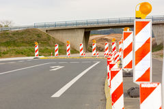 Roadworks. Beacons to assure the safety of roadworks Stock Photography