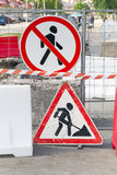 Roadworks border with street signs. No way Stock Photo